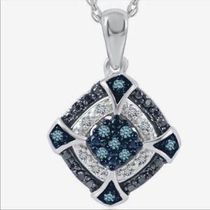 Helzberg - Sterling Silver Blue & Diamond Pendant